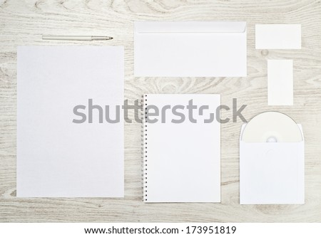 Corporate identity templates:blank, business cards, disk, envelope, sheet of paper
