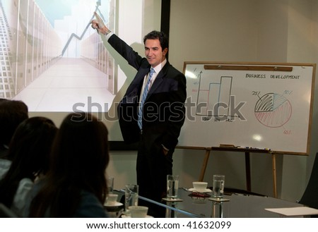 Corporate man at a business presentation at the office
