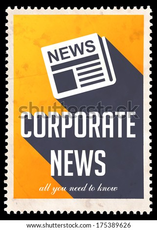 Corporate News on Yellow Background. Vintage Concept in Flat Design with Long Shadows.