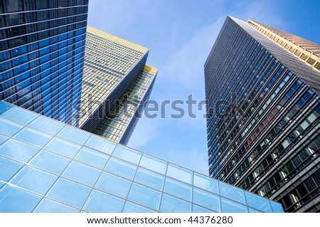 Corporate office buildings in Canary Wharf, London.