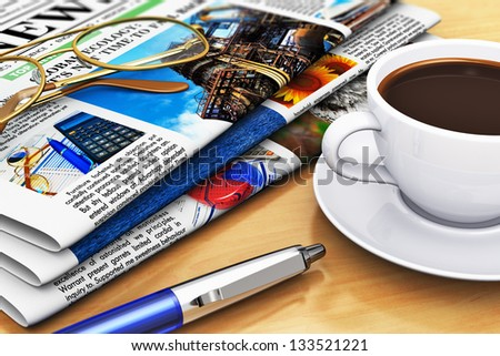 Corporate office life and business break concept: newspapers with business news, cup of fresh black coffee, eyeglasses and blue ballpoint pen on wooden office table with selective focus effect