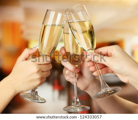 Corporate party sparkling champagne glasses