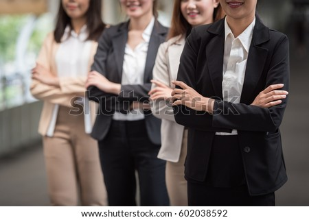 Corporate Professional Group Women  Office Team Successful,business team professional female people standing with partnership