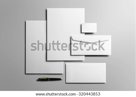 Corporate Stationery, Branding Mock-up, deep shadows, with clipping path, isolated, changeable background. #320443853
