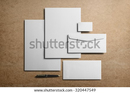 Corporate Stationery, Branding Mock-up, deep shadows with clipping path, isolated, changeable cardboard background.