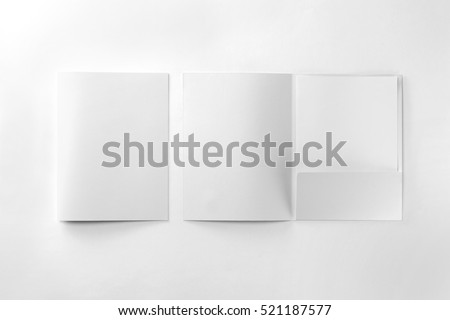 Corporate stationery set mockup. Two presentation folders and letterhead at white textured paper background.  #521187577