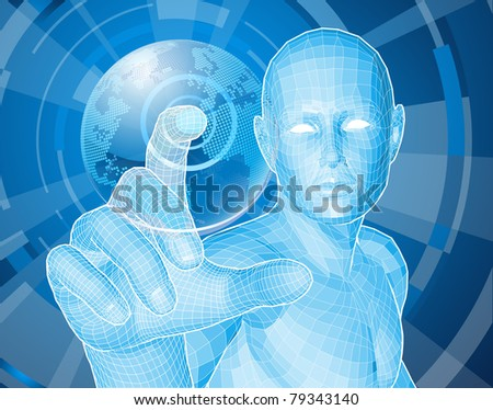 Corporate style background concept. Futuristic blue figure selecting a floating world globe.