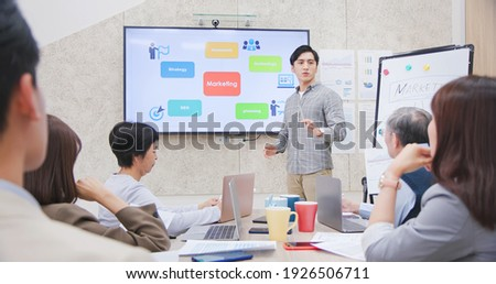 corporate teamwork - young asian busineswoman lead group of business startup team in strategic meeting presentation and a young man ask question