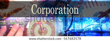 Corporation - Hand writing word to represent the meaning of financial word as concept. A word Corporation is a part of Investment&Wealth management in stock photo. Stockfoto ©
