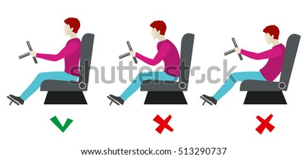 Correct and bad sitting postures for driver. Man sitting on chair correct. Healthy correct pose for driver. illustration infographics
