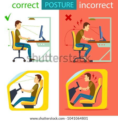 Correct and incorrect sitting posture isolated illustration. Body alignment in sitting working with computer and in car. Medical infographics with spine person sit correct and wrong position.