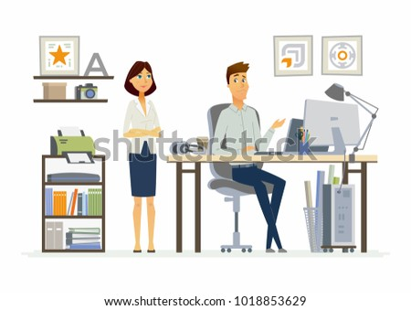 Correcting Mistakes - illustration of a business, office situation. Cartoon people characters of young female, male colleagues at work. Manager, supervisor dissatisfied with subordinate work