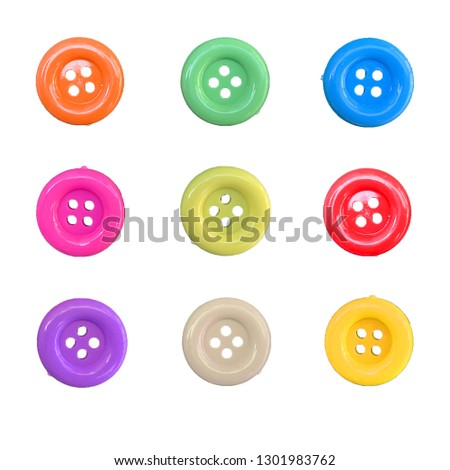 Correction of colorful button isolated on white background #1301983762