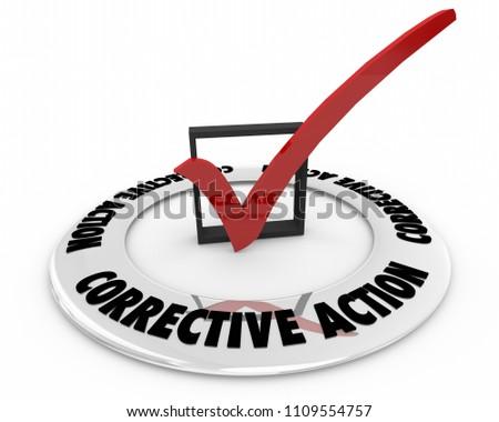 Corrective Action Check Mark Box Fix Problem Repair 3d Render Illustration
