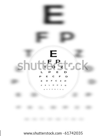 Corrective Contact Lens Focuses Eye Chart Letters Clearly.  The Eye Chart is shown blurred in the background.