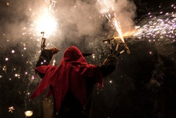 Correfocs. Fire show at traditional festival