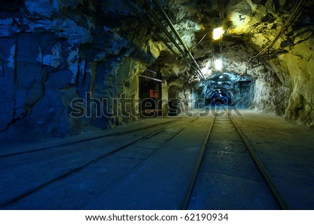 Corridor in a historical mine in Poland