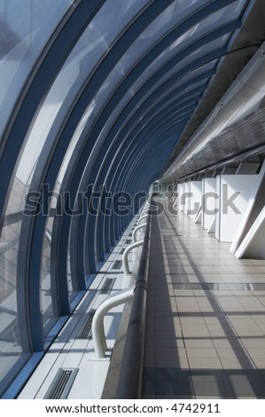 Corridor in a modern glass brigde