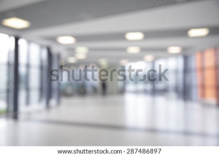 Corridor in airport out of focus