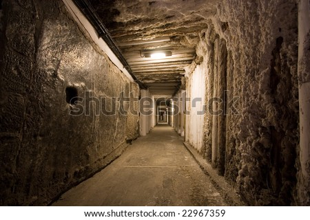 Corridor in salt mine in Wieliczka. Poland