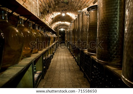 Corridor in the traditional wine cellar