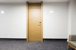 Corridor interior with wooden doors