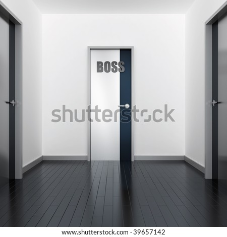 Corridor of modern office and door of the boss