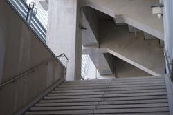 Corridor of sports stadium made of concrete