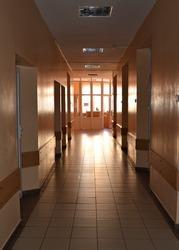 Corridor of the sanatorium. Department of the sanatorium. Tuberculosis sanatorium