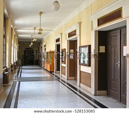 Corridor of the university building, Debrecen, Hungary #528153085