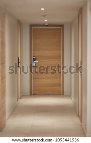 Corridor or hallways with down lights to the door #1053441536