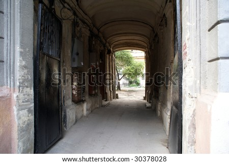 Corridor to the back yard of house in Odessa, Ukraine