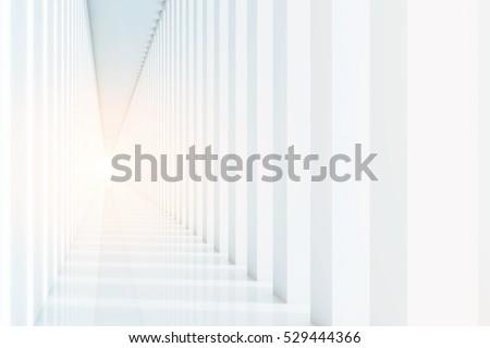 Corridor white. 3d rendering Mock up Toned image