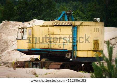 Corroded truck at gravel pit