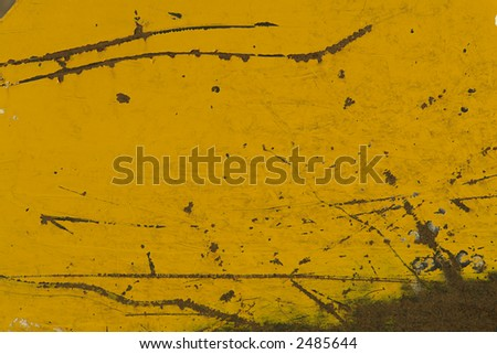 Corroded yellow iron plate.