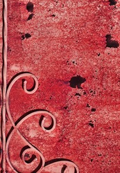 Corrosion  metal painted wall with streaks of rust and dry paint flakes. The metal surface rusted spots.
