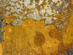 Corrosion metal texture background. Oxidized rusty iron with cracked paint on old metal surface. Corroded grunge steel abstract structure in orange color.