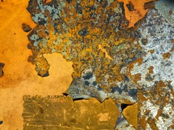 Corrosion metal texture background. Oxydized iron with sticks of rust. Corroded grunge steel abstract structure