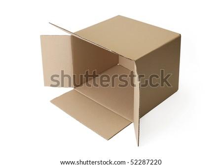 Corrugated cardboard box isolated on white background.