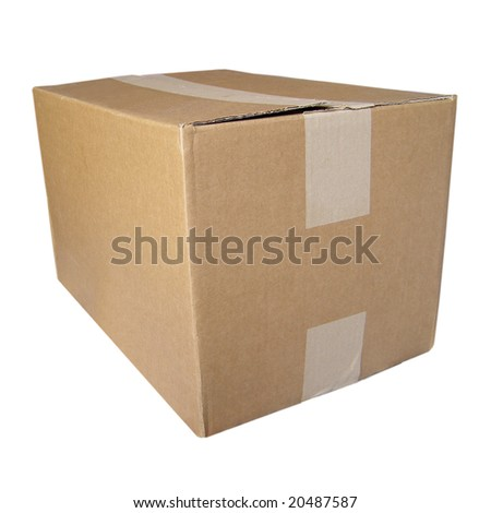 Corrugated cardboard parcel packet isolated