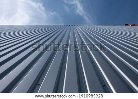 Corrugated iron sheet, aluminum Facade of a warehouse as background texture Сток-фото ©