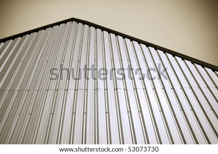 corrugated metal warehouse facade abstract