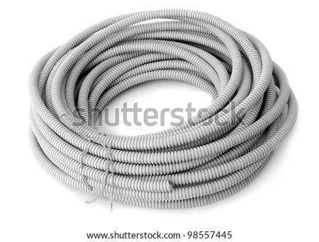Corrugated pipe for the cable on a white background