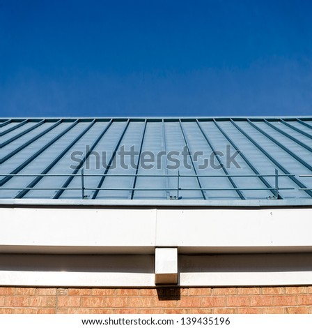 Corrugated roof in panoramic view