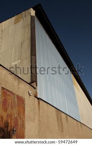 Corrugated sheet hall - obsolete industrial hangar