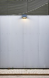 corrugated wall at a new building - nice background with copy space