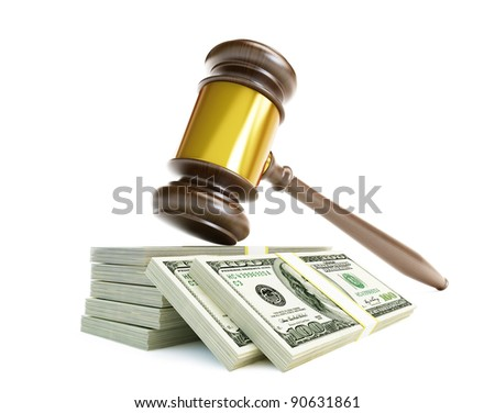 corrupt court gavel on a white background