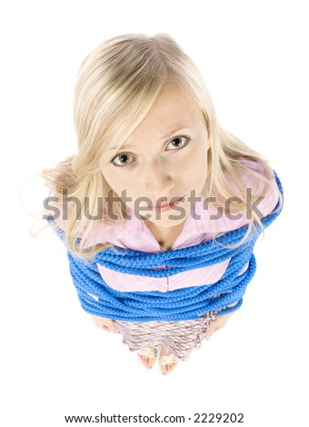 corrupted by rope young blonde woman on white background