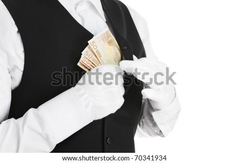 Corruption -butler putting money in his pocket