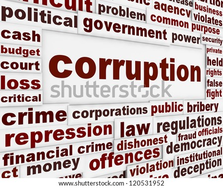 Corruption political poster. Financial bribery warning message